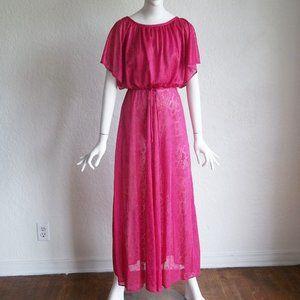 Vintage 70s Floral Lace Blouson Maxi Peasant Dress